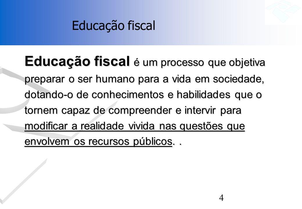 4 Educação fiscal é um processo que objetiva preparar o ser humano para a vida em sociedade, dotando-o de conhecimentos e habilidades que o tornem cap