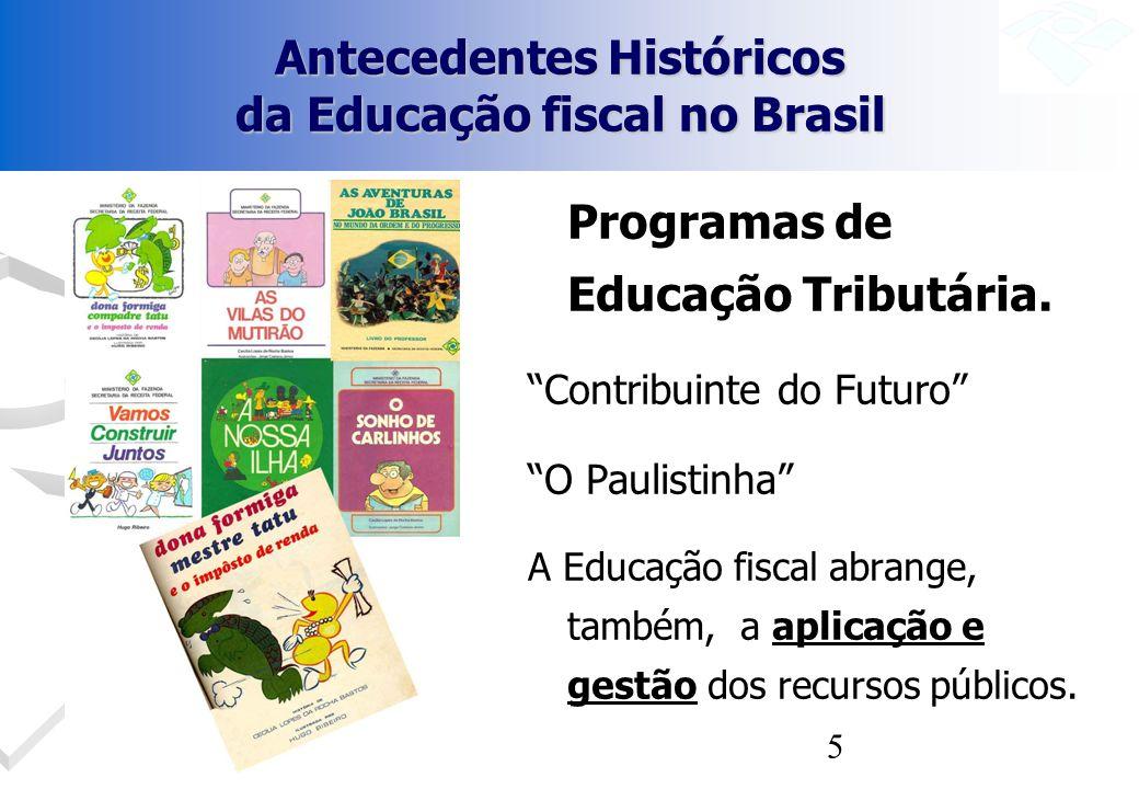 5 Antecedentes Históricos da Educação fiscal no Brasil Programas de Educação Tributária. Contribuinte do Futuro O Paulistinha A Educação fiscal abrang