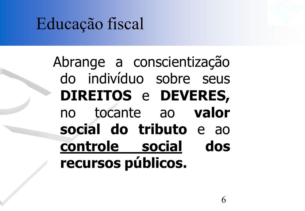 6 Abrange a conscientização do indivíduo sobre seus DIREITOS e DEVERES, no tocante ao valor social do tributo e ao controle social dos recursos públic
