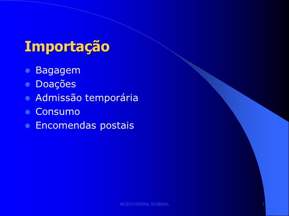 RECEITA FEDERAL DO BRASIL 1 Importação Bagagem Doações Admissão temporária Consumo Encomendas postais