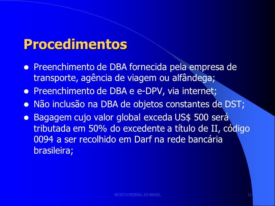 RECEITA FEDERAL DO BRASIL 11 Procedimentos Preenchimento de DBA fornecida pela empresa de transporte, agência de viagem ou alfândega; Preenchimento de DBA e e-DPV, via internet; Não inclusão na DBA de objetos constantes de DST; Bagagem cujo valor global exceda US$ 500 será tributada em 50% do excedente a título de II, código 0094 a ser recolhido em Darf na rede bancária brasileira;