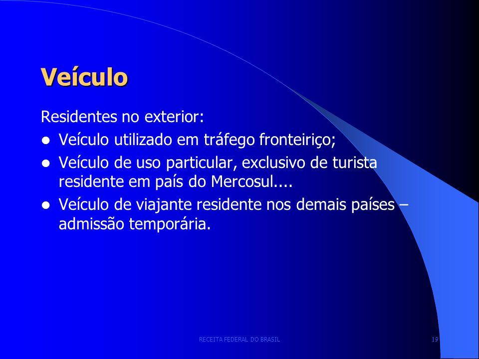 RECEITA FEDERAL DO BRASIL 19 Veículo Residentes no exterior: Veículo utilizado em tráfego fronteiriço; Veículo de uso particular, exclusivo de turista residente em país do Mercosul....
