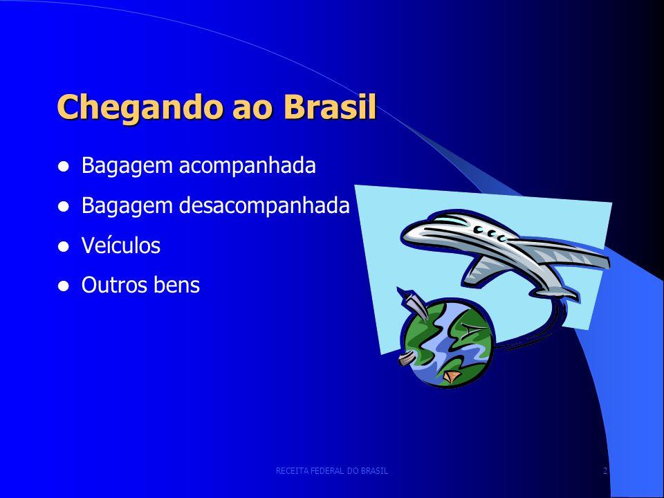 RECEITA FEDERAL DO BRASIL 2 Chegando ao Brasil Bagagem acompanhada Bagagem desacompanhada Veículos Outros bens