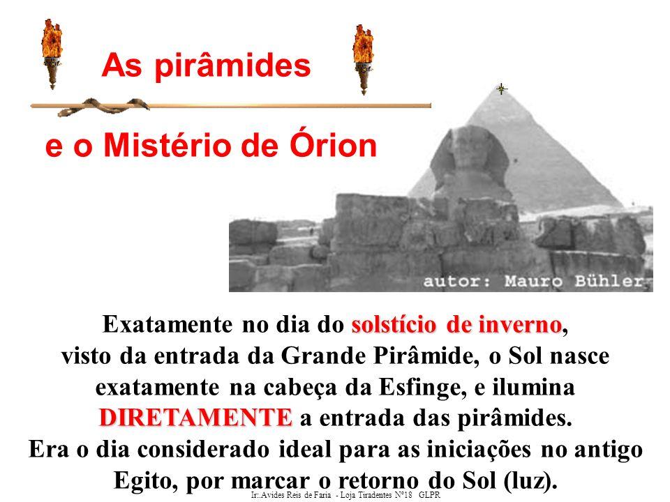 Ir:.Avides Reis de Faria - Loja Tiradentes Nº18 GLPR Localização das pirâmides do Egito Hermes Trismesgistos Foi Imothep (Hermes Trismesgistos, como os gregos o chamaram posteriormente) que determinou a localização onde se construiria Saqqara para as suas misteriosas finalidades.