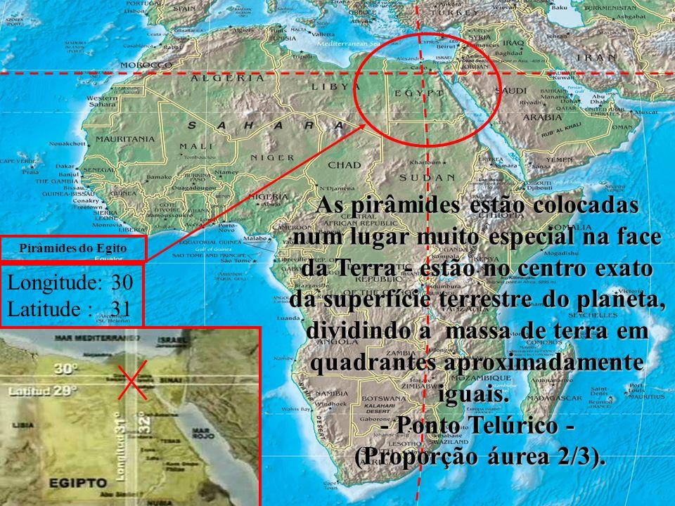 Ir:.Avides Reis de Faria - Loja Tiradentes Nº18 GLPR estão no centro exato da superfície terrestre do planeta As pirâmides estão colocadas num lugar muito especial na face da Terra - estão no centro exato da superfície terrestre do planeta, dividindo a massa de terra em quadrantes aproximadamente iguais.