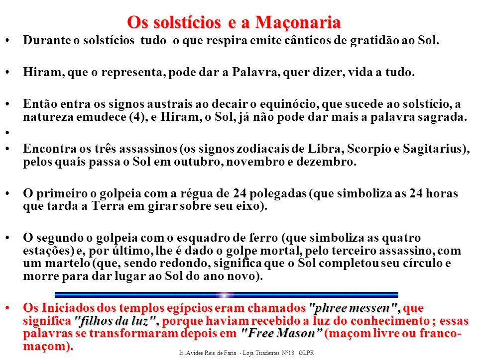 Ir:.Avides Reis de Faria - Loja Tiradentes Nº18 GLPR Estabelece-se também a relação da Maçonaria com os ciclos naturais através das citações de São Jõao.