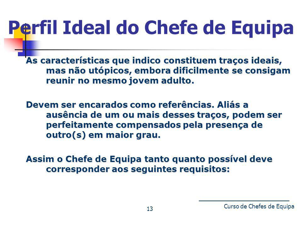 Curso de Chefes de Equipa 13 Perfil Ideal do Chefe de Equipa As características que indico constituem traços ideais, mas não utópicos, embora dificilm