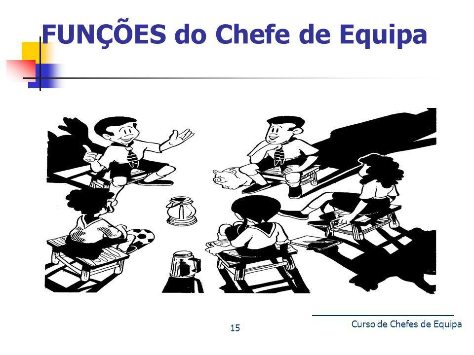 Curso de Chefes de Equipa 15 FUNÇÕES do Chefe de Equipa