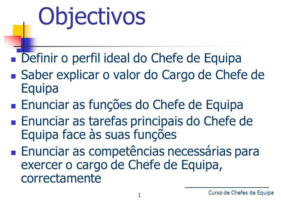 Curso de Chefes de Equipa 1 Objectivos Definir o perfil ideal do Chefe de Equipa Saber explicar o valor do Cargo de Chefe de Equipa Enunciar as funçõe
