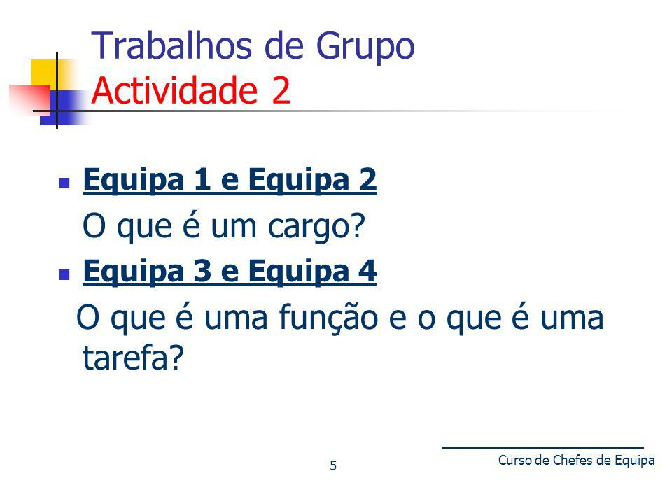 Curso de Chefes de Equipa 5 Trabalhos de Grupo Actividade 2 Equipa 1 e Equipa 2 O que é um cargo? Equipa 3 e Equipa 4 O que é uma função e o que é uma