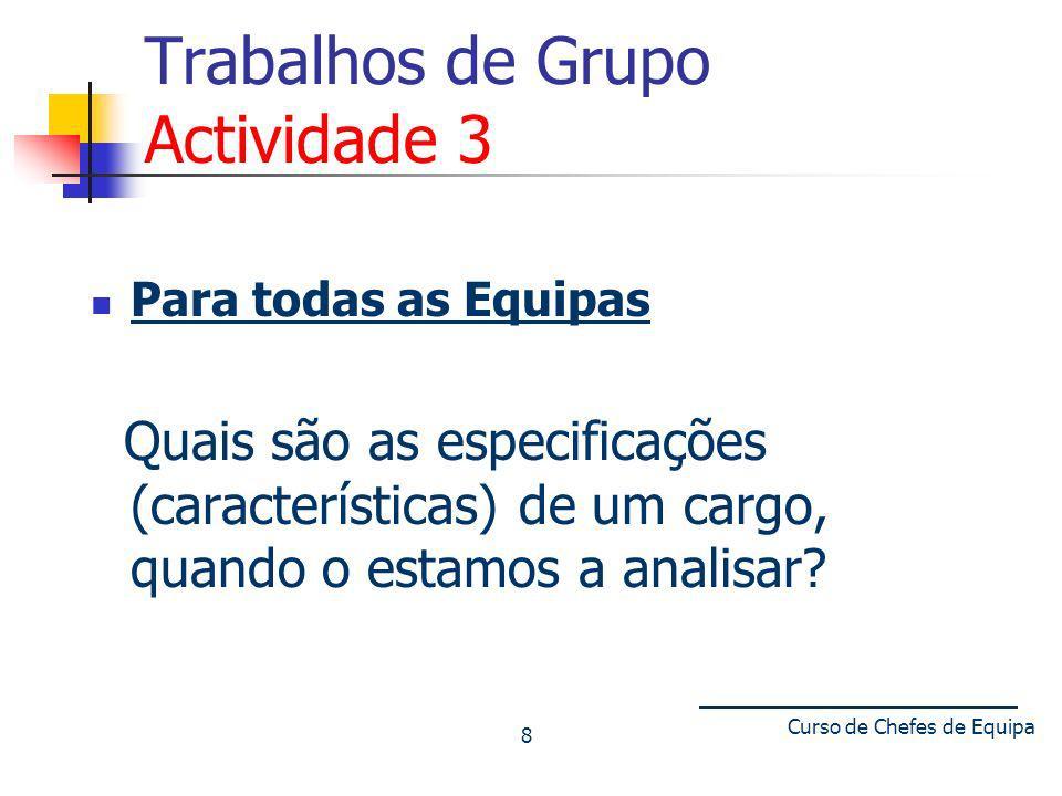 Curso de Chefes de Equipa 8 Trabalhos de Grupo Actividade 3 Para todas as Equipas Quais são as especificações (características) de um cargo, quando o