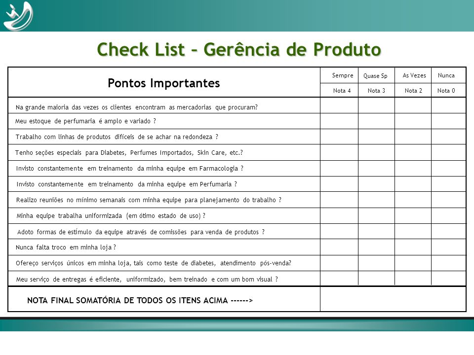 Check List – Gerência de Produto Na grande maioria das vezes os clientes encontram as mercadorias que procuram? Meu estoque de perfumaria é amplo e va
