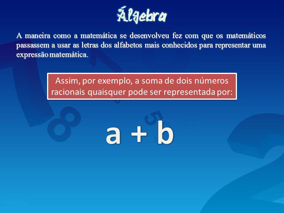 A maneira como a matemática se desenvolveu fez com que os matemáticos passassem a usar as letras dos alfabetos mais conhecidos para representar uma ex