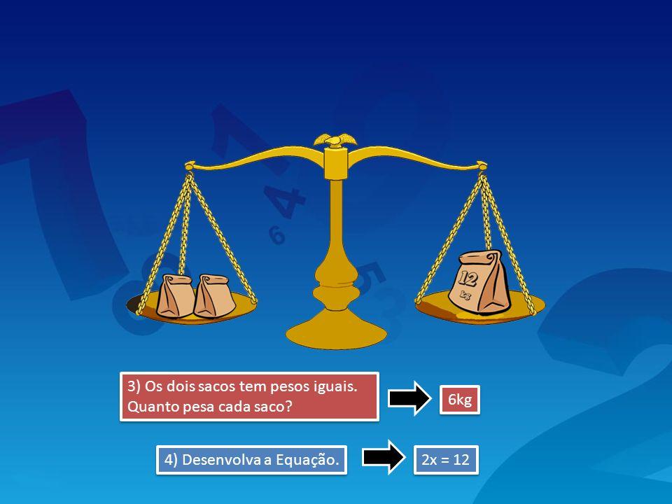 3) Os dois sacos tem pesos iguais. Quanto pesa cada saco? 2x = 12 6kg 4) Desenvolva a Equação.