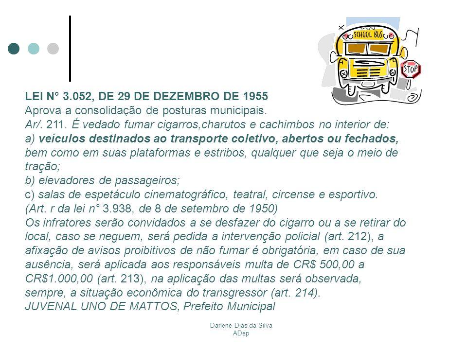 Darlene Dias da Silva ADep LEI N° 3.052, DE 29 DE DEZEMBRO DE 1955 Aprova a consolidação de posturas municipais. Ar/. 211. É vedado fumar cigarros,cha