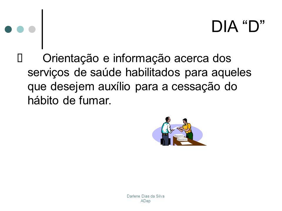 Darlene Dias da Silva ADep DIA D Orientação e informação acerca dos serviços de saúde habilitados para aqueles que desejem auxílio para a cessação do