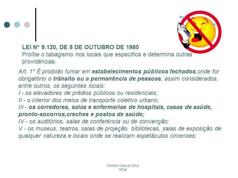 Darlene Dias da Silva ADep Avisos indicativos da proibição de fumar deverão ser afixados (art.