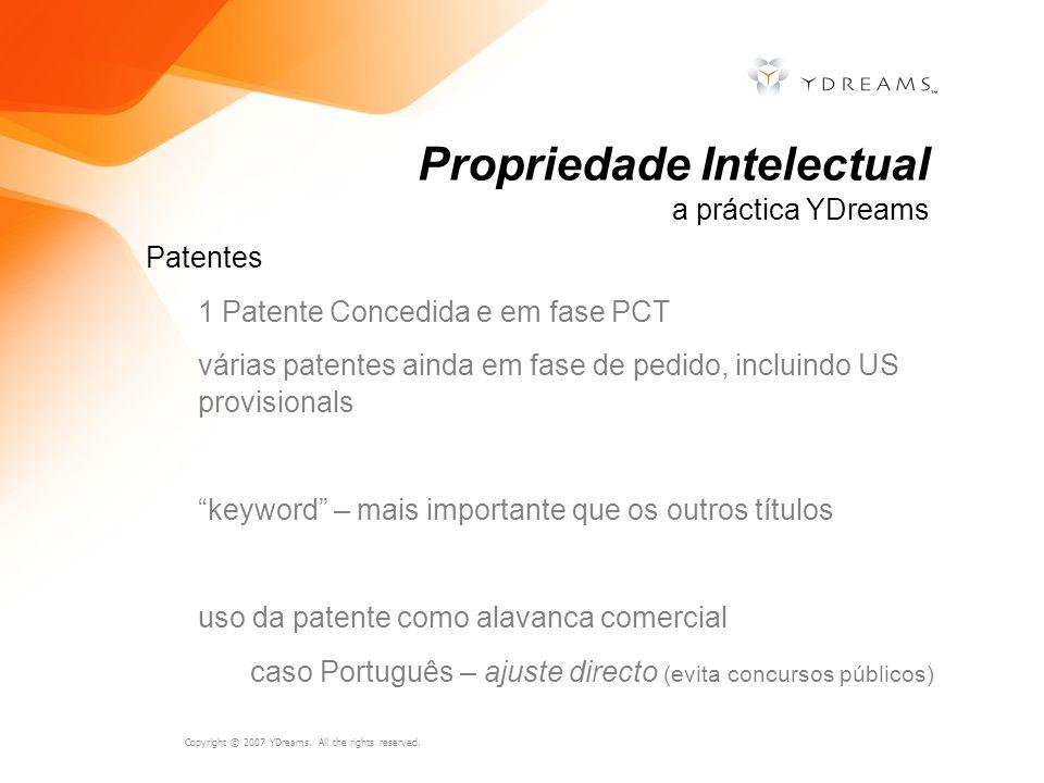 Copyright © 2007 YDreams. All the rights reserved. Patentes 1 Patente Concedida e em fase PCT várias patentes ainda em fase de pedido, incluindo US pr