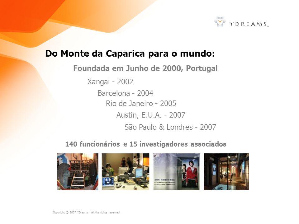 Copyright © 2007 YDreams. All the rights reserved. Do Monte da Caparica para o mundo: Foundada em Junho de 2000, Portugal Xangai - 2002 Barcelona - 20