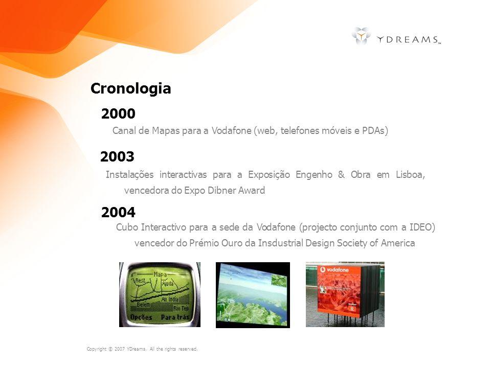 Copyright © 2007 YDreams. All the rights reserved. Cronologia Canal de Mapas para a Vodafone (web, telefones móveis e PDAs) 2000 2003 Instalações inte