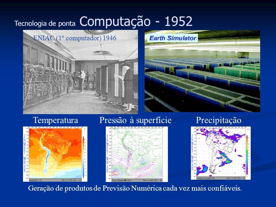 Tecnologia de ponta Computação - 1952 Geração de produtos de Previsão Numérica cada vez mais confiáveis. ENIAC (1º computador) 1946 Pressão à superfíc