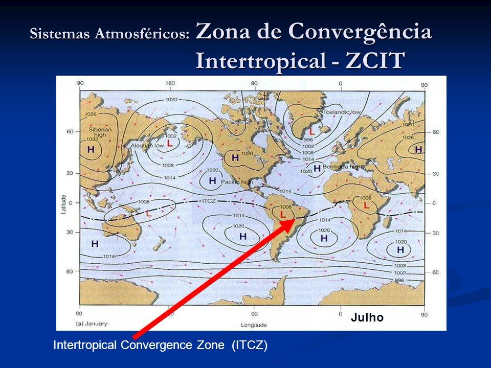 Sistemas Atmosféricos: Zona de Convergência Intertropical - ZCIT Intertropical Convergence Zone (ITCZ) Julho