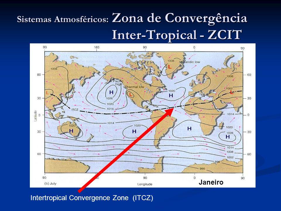 Sistemas Atmosféricos: Zona de Convergência Inter-Tropical - ZCIT Intertropical Convergence Zone (ITCZ) Janeiro