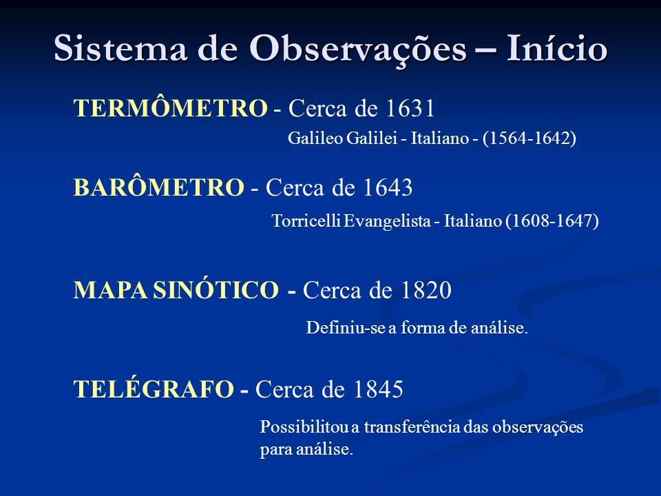 Sistema de Observações – Início TERMÔMETRO - Cerca de 1631 Galileo Galilei - Italiano - (1564-1642) BARÔMETRO - Cerca de 1643 Torricelli Evangelista -