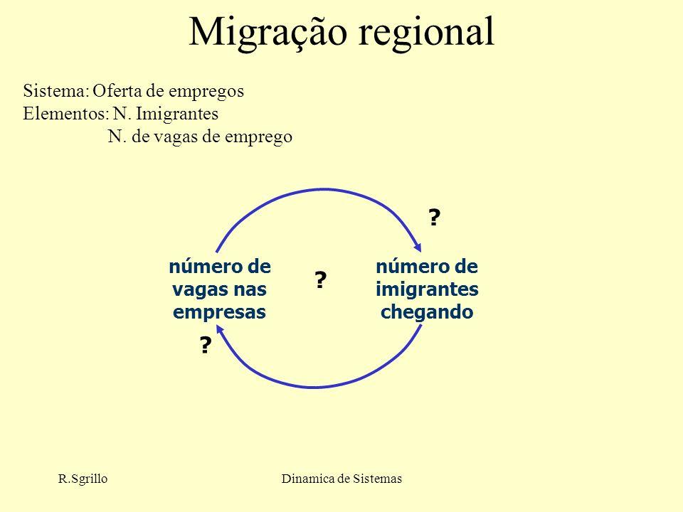 R.SgrilloDinamica de Sistemas Migração regional número de vagas nas empresas número de imigrantes chegando .