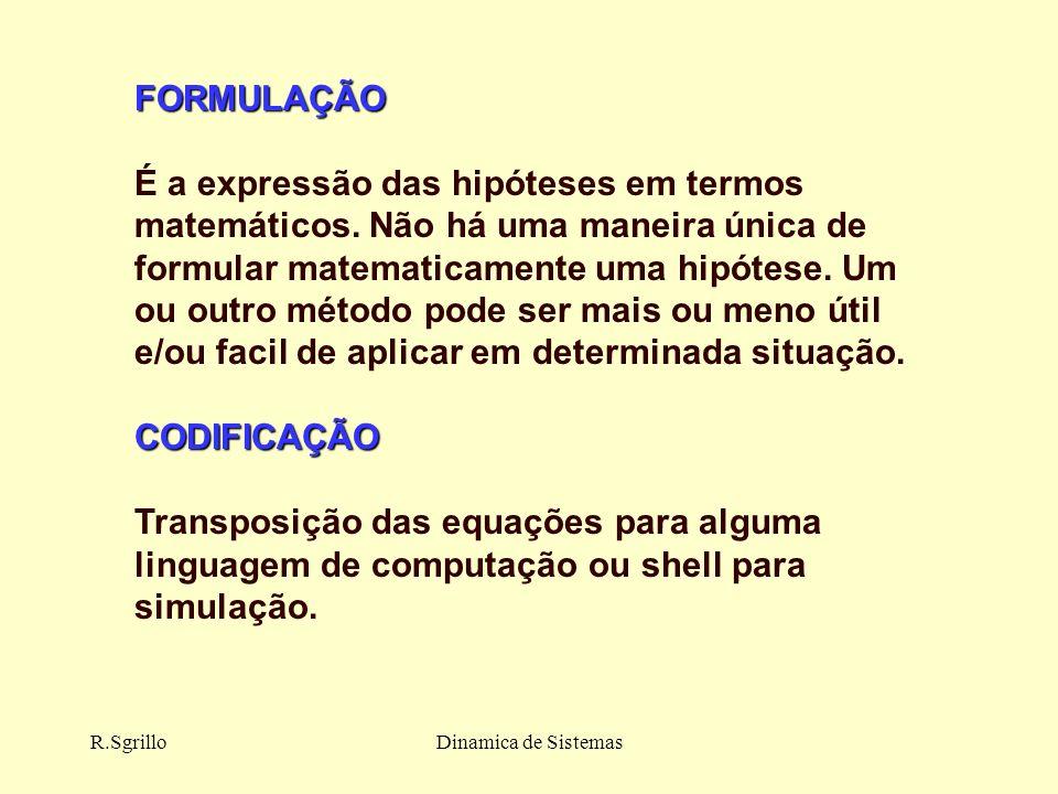 R.SgrilloDinamica de Sistemas FORMULAÇÃO É a expressão das hipóteses em termos matemáticos.
