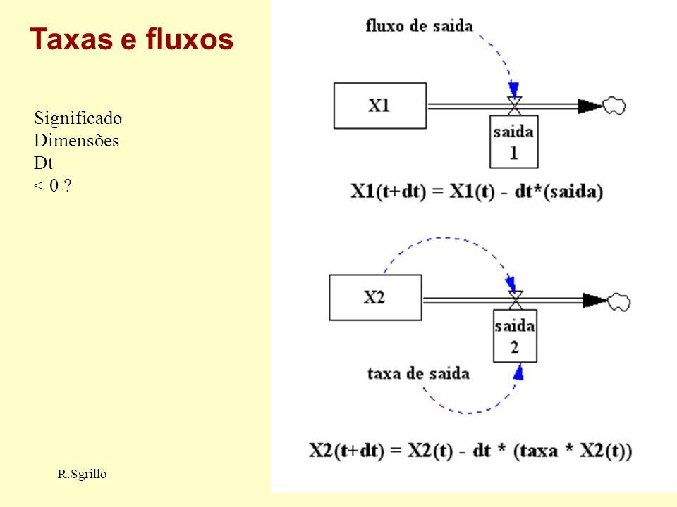 R.SgrilloDinamica de Sistemas Taxas e fluxos Significado Dimensões Dt < 0 ?