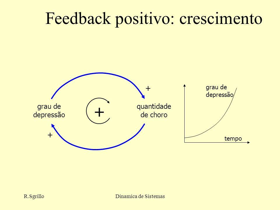 R.SgrilloDinamica de Sistemas Feedback positivo: crescimento grau de depressão quantidade de choro + + + tempo grau de depressão