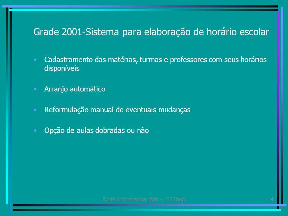 Delta Informática Ltda - 123Shop14 Grade 2001-Sistema para elaboração de horário escolar Cadastramento das matérias, turmas e professores com seus hor