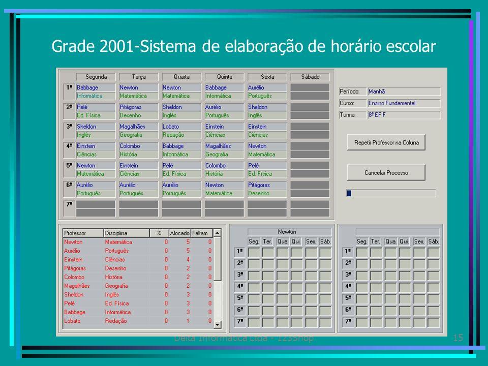 Delta Informática Ltda - 123Shop15 Grade 2001-Sistema de elaboração de horário escolar