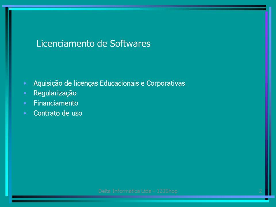 Delta Informática Ltda - 123Shop2 Licenciamento de Softwares Aquisição de licenças Educacionais e Corporativas Regularização Financiamento Contrato de