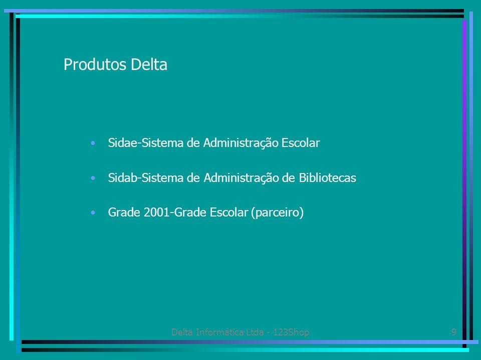 Delta Informática Ltda - 123Shop10 Sidae-Sistema Delta de Administração Escolar Sistema de gestão que engloba as áreas de secretaria, tesouraria e coordenação Totalmente integrado com sistemas bancários Emissão de todos os documentos oficiais da Secretaria da Educação Bancos de dados integrados