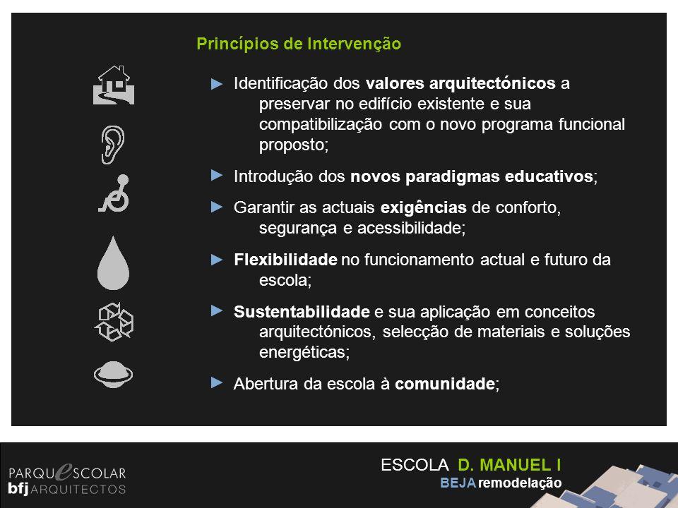 ESCOLA D. MANUEL I BEJA remodelação Princípios de Intervenção Identificação dos valores arquitectónicos a preservar no edifício existente e sua compat