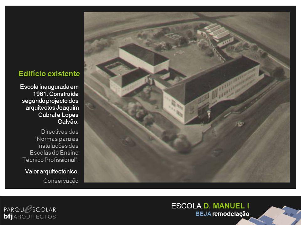 ESCOLA D. MANUEL I BEJA remodelação Edifício existente Escola inaugurada em 1961. Construída segundo projecto dos arquitectos Joaquim Cabral e Lopes G