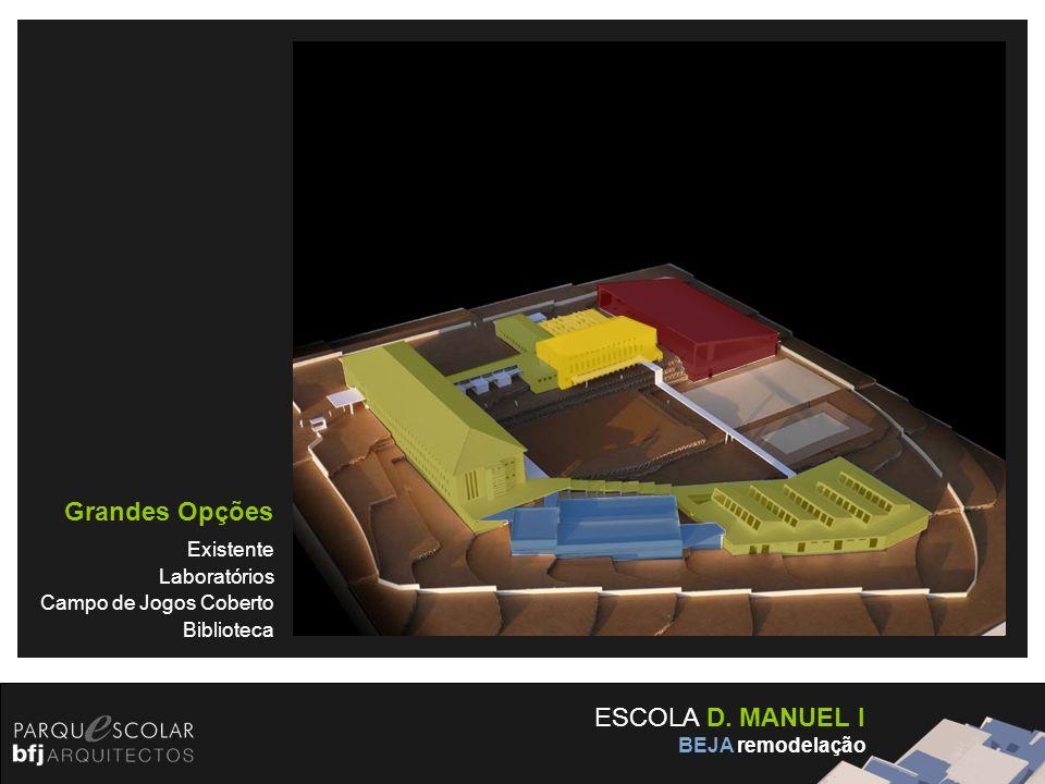 ESCOLA D. MANUEL I BEJA remodelação Grandes Opções Existente Laboratórios Campo de Jogos Coberto Biblioteca