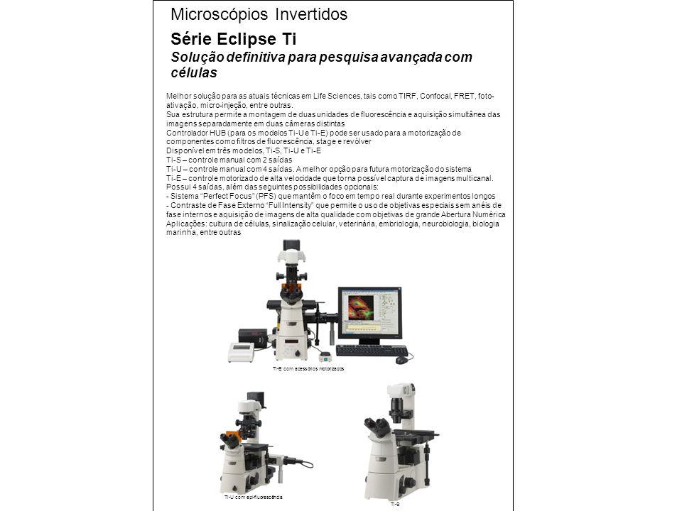 Melhor solução para as atuais técnicas em Life Sciences, tais como TIRF, Confocal, FRET, foto- ativação, micro-injeção, entre outras.