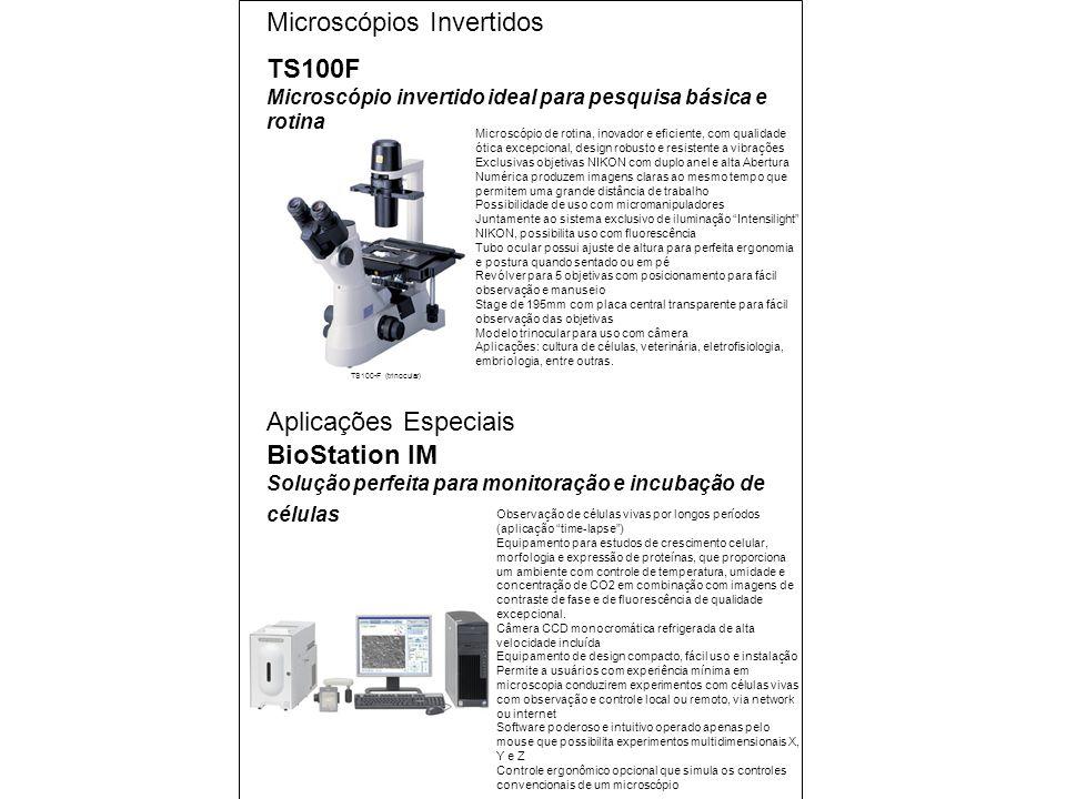 Microscópios Invertidos TS100F Microscópio invertido ideal para pesquisa básica e rotina TS100-F (trinocular) Microscópio de rotina, inovador e eficiente, com qualidade ótica excepcional, design robusto e resistente a vibrações Exclusivas objetivas NIKON com duplo anel e alta Abertura Numérica produzem imagens claras ao mesmo tempo que permitem uma grande distância de trabalho Possibilidade de uso com micromanipuladores Juntamente ao sistema exclusivo de iluminação Intensilight NIKON, possibilita uso com fluorescência Tubo ocular possui ajuste de altura para perfeita ergonomia e postura quando sentado ou em pé Revólver para 5 objetivas com posicionamento para fácil observação e manuseio Stage de 195mm com placa central transparente para fácil observação das objetivas Modelo trinocular para uso com câmera Aplicações: cultura de células, veterinária, eletrofisiologia, embriologia, entre outras.