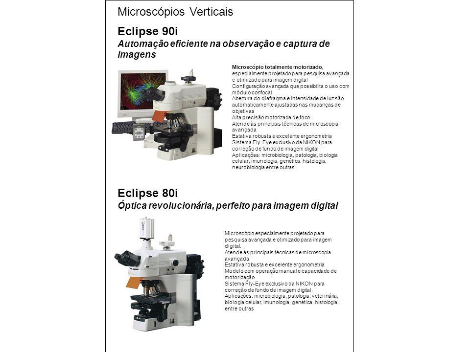 Microscópio especialmente projetado para pesquisa avançada e otimizado para imagem digital.