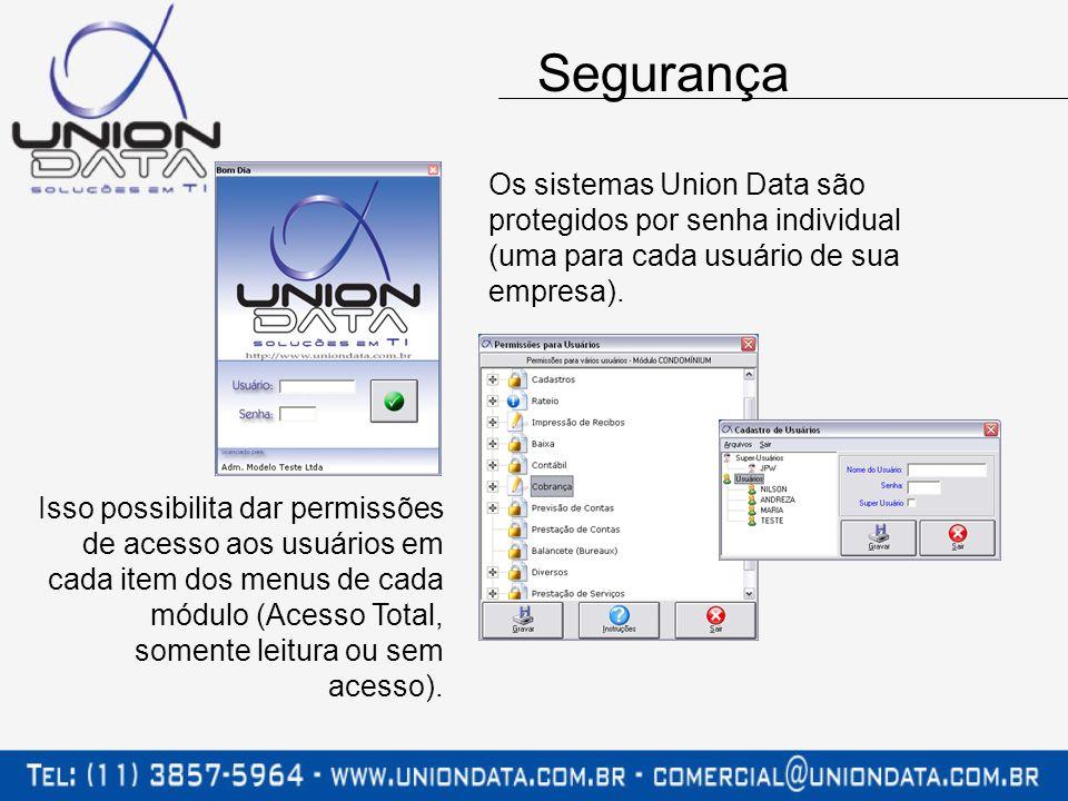 Os sistemas Union Data são protegidos por senha individual (uma para cada usuário de sua empresa). Isso possibilita dar permissões de acesso aos usuár