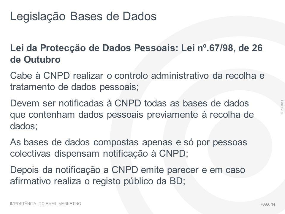 IMPORTÂNCIA DO EMAIL MARKETING PAG. 14 Legislação Bases de Dados PAG. 14 Lei da Protecção de Dados Pessoais: Lei nº.67/98, de 26 de Outubro Cabe à CNP