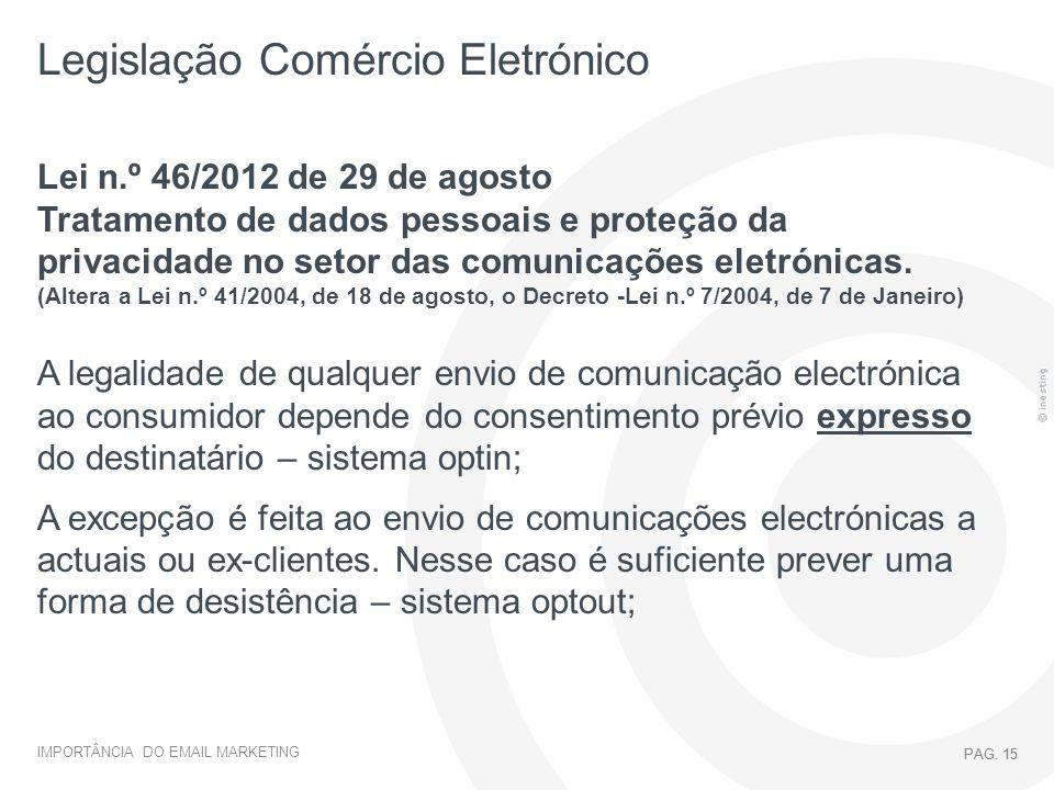IMPORTÂNCIA DO EMAIL MARKETING PAG. 15 Legislação Comércio Eletrónico PAG. 15 Lei n.º 46/2012 de 29 de agosto Tratamento de dados pessoais e proteção