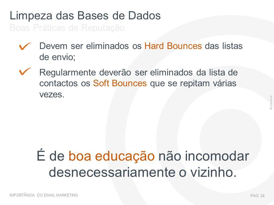 IMPORTÂNCIA DO EMAIL MARKETING PAG. 24 Limpeza das Bases de Dados Boas Práticas de Reputação Devem ser eliminados os Hard Bounces das listas de envio;