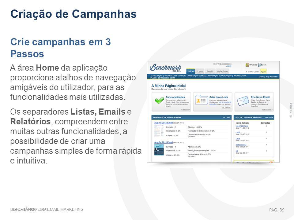IMPORTÂNCIA DO EMAIL MARKETING Criação de Campanhas Crie campanhas em 3 Passos A área Home da aplicação proporciona atalhos de navegação amigáveis do