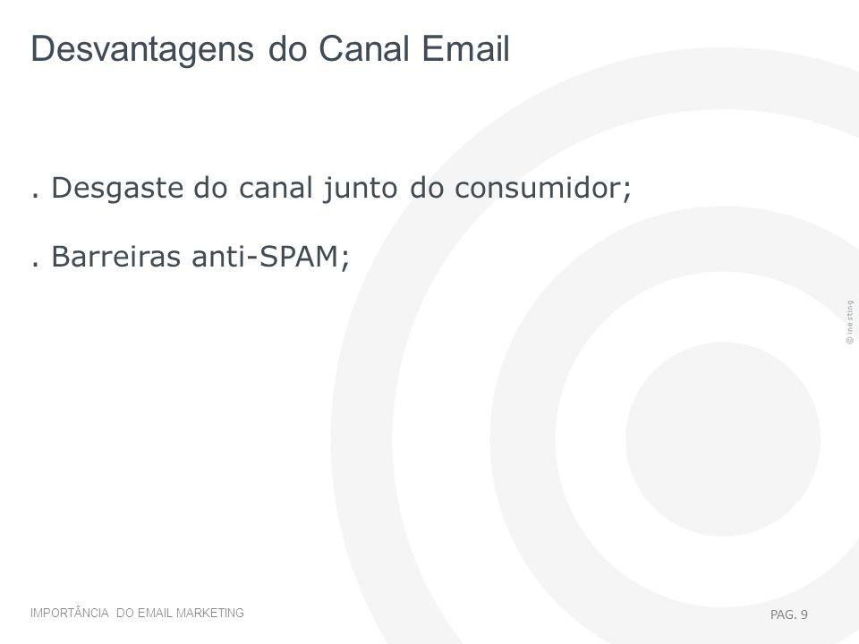 PAG. 9 EMAIL MARKETING > INTRODUÇÃO IMPORTÂNCIA DO EMAIL MARKETING PAG. 9. Desgaste do canal junto do consumidor;. Barreiras anti-SPAM; Desvantagens d