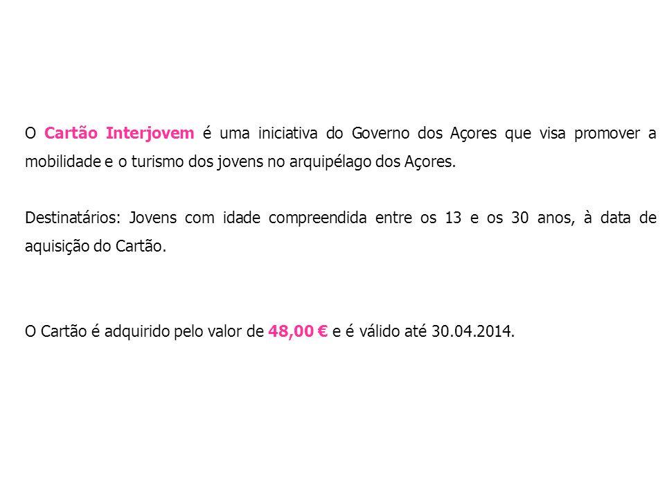 O Cartão Interjovem é uma iniciativa do Governo dos Açores que visa promover a mobilidade e o turismo dos jovens no arquipélago dos Açores. Destinatár