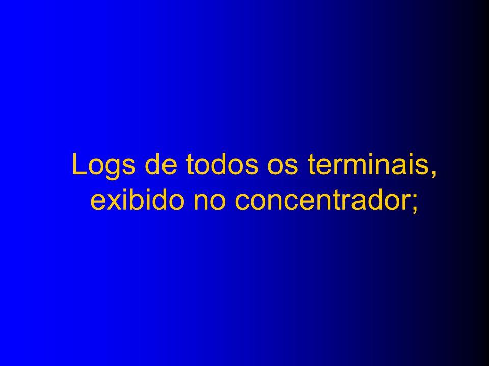 Logs de todos os terminais, exibido no concentrador;